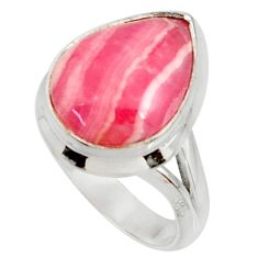 7.35cts natural rhodochrosite inca rose silver solitaire ring size 6 r28006
