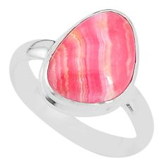 6.47cts natural rhodochrosite inca rose silver solitaire ring size 9.5 t4239