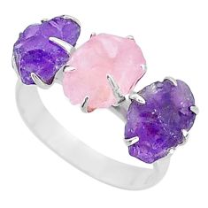 8.56cts natural rose quartz amethyst raw 925 silver 3 stone ring size 9 t7130