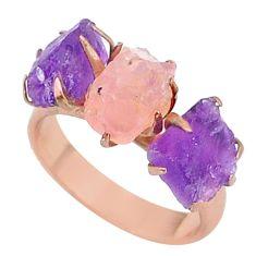 10.28cts natural rose quartz raw 14k rose gold handmade ring size 7 t34918