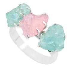 8.93cts natural rose quartz raw aquamarine rough 925 silver ring size 8 t7148