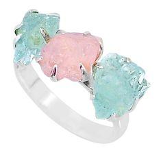 8.84cts natural rose quartz raw aquamarine rough 925 silver ring size 8 t7152