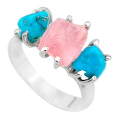 8.73cts natural rose quartz raw campitos turquoise silver ring size 7 t15137