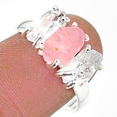 8.56cts natural rose quartz raw herkimer diamond silver ring size 8 t14135