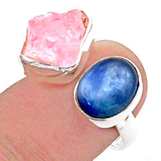 10.02cts natural rose quartz raw kyanite silver adjustable ring size 7 t38161