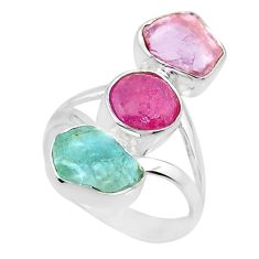 12.06cts natural ruby aquamarine rose quartz raw silver ring size 7.5 r73771