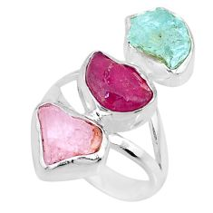 12.91cts natural ruby aquamarine rose quartz raw silver ring size 6 r73779