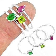 3.14cts natural ruby emerald peridot 925 sterling silver ring size 8 r79924