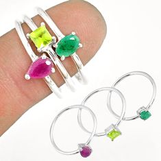 3.28cts natural ruby emerald peridot 925 sterling silver ring size 8 r79926