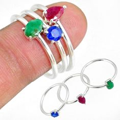 3.79cts natural ruby emerald sapphire 925 silver 3 stackable ring size 8 r59944