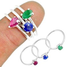 3.12cts natural ruby emerald sapphire 925 silver stackable ring size 6.5 r79950