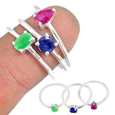 3.14cts natural ruby emerald sapphire 925 silver stackable ring size 7 r79949