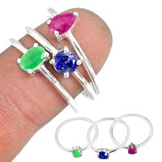 2.98cts natural ruby emerald sapphire 925 silver stackable ring size 7 r79952