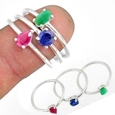 3.42cts natural ruby emerald sapphire 925 sterling silver ring size 7.5 r79940