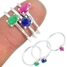 3.28cts natural ruby emerald sapphire 925 sterling silver ring size 7 r79934