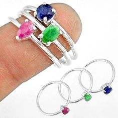3.42cts natural ruby emerald sapphire 925 sterling silver ring size 8 r79923