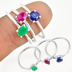 3.41cts natural ruby emerald sapphire 925 sterling silver ring size 8 r79937