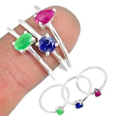3.28cts natural ruby emerald sapphire 925 sterling silver ring size 8 r79939