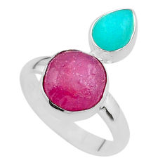 10.41cts natural ruby raw peruvian amazonite silver ring size 8 t49847
