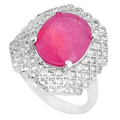 6.88cts natural red ruby white topaz 925 sterling silver ring size 6 c17853