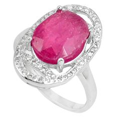 6.17cts natural red ruby white topaz 925 sterling silver ring size 7 c17707