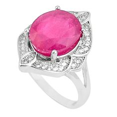 6.04cts natural red ruby white topaz 925 sterling silver ring size 7 c17672
