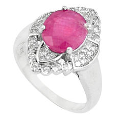 6.33cts natural red ruby white topaz 925 sterling silver ring size 7 c17681