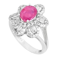 5.63cts natural red ruby white topaz 925 sterling silver ring size 7 c17698