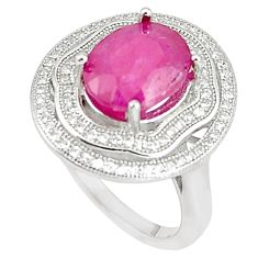 7.23cts natural red ruby white topaz 925 sterling silver ring size 8 c17673