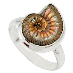 6.36cts natural russian jurassic opal ammonite 925 silver ring size 7.5 r39586
