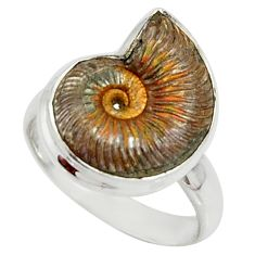 7.84cts natural russian jurassic opal ammonite 925 silver ring size 8.5 r39599