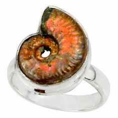 7.30cts natural russian jurassic opal ammonite 925 silver ring size 5.5 r39603