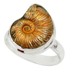 7.89cts natural russian jurassic opal ammonite 925 silver ring size 7.5 r39606