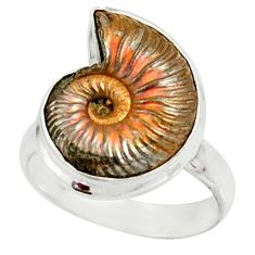 10.24cts natural russian jurassic opal ammonite 925 silver ring size 6.5 r39618