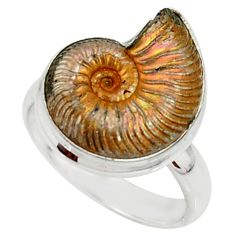 7.12cts natural russian jurassic opal ammonite 925 silver ring size 10 r39581