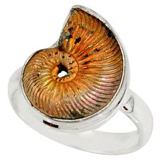 8.54cts natural russian jurassic opal ammonite 925 silver ring size 8 r39601