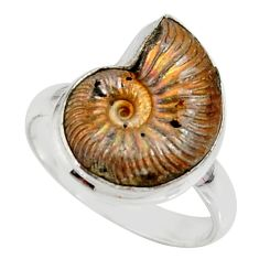 7.58cts natural russian jurassic opal ammonite 925 silver ring size 9 r39617