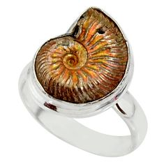 6.53cts natural russian jurassic opal ammonite fancy silver ring size 5.5 r39610