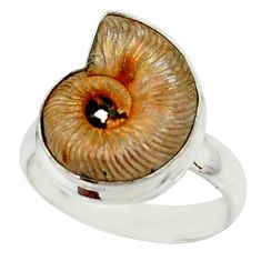 12.07cts natural russian jurassic opal ammonite fancy silver ring size 10 r39585