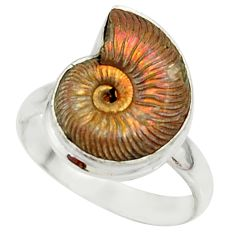 6.36cts natural russian jurassic opal ammonite fancy silver ring size 8 r39591