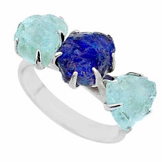 9.37cts natural sapphire aquamarine raw 925 silver 3 stone ring size 7 t7089