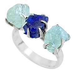 9.44cts natural sapphire aquamarine raw 925 silver 3 stone ring size 7 t7094