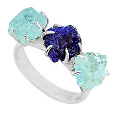 8.56cts natural sapphire aquamarine raw 925 silver 3 stone ring size 7 t7100