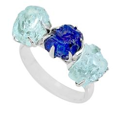 10.32cts natural sapphire aquamarine raw 925 silver 3 stone ring size 8 t7090