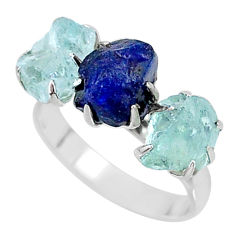 10.32cts natural sapphire aquamarine raw 925 silver 3 stone ring size 8 t7099