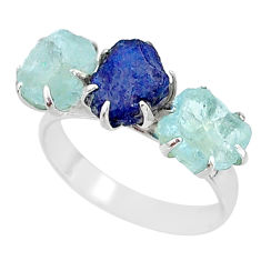 9.86cts natural sapphire aquamarine raw 925 silver 3 stone ring size 9 t7093