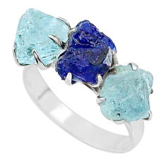 10.76cts natural sapphire aquamarine raw 925 silver 3 stone ring size 9 t7095