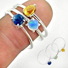 3.14cts natural sapphire ethiopian opal citrine silver 3 rings size 7.5 t50959