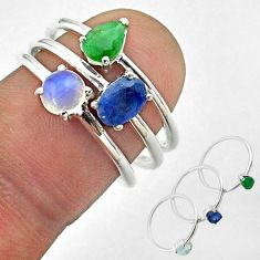 3.14cts natural sapphire ethiopian opal emerald 925 silver 3 rings size 7 t50958