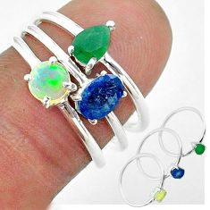 2.98cts natural sapphire ethiopian opal emerald silver 3 rings size 6.5 t50952